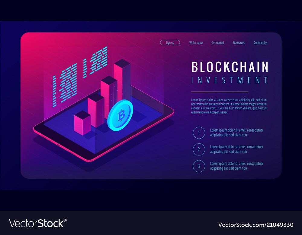Isometric blockchain investment landing page