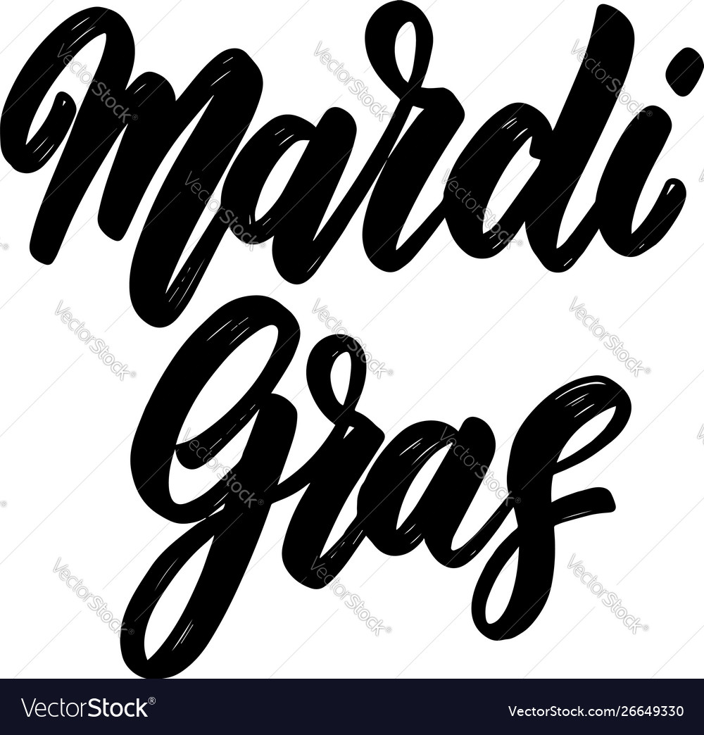 Mardi gras lettering phrase isolated on white