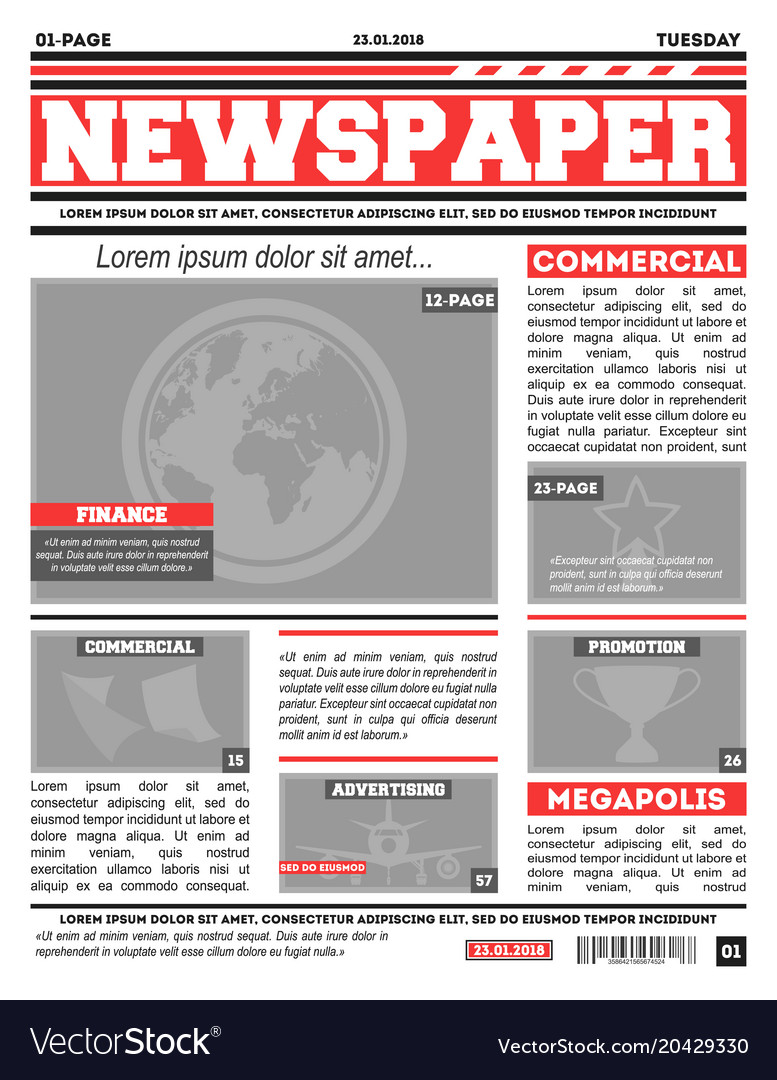 Newspaper Page Template Royalty Free Vector Image