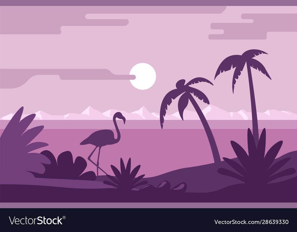 Night summer landscape beach with flamingo