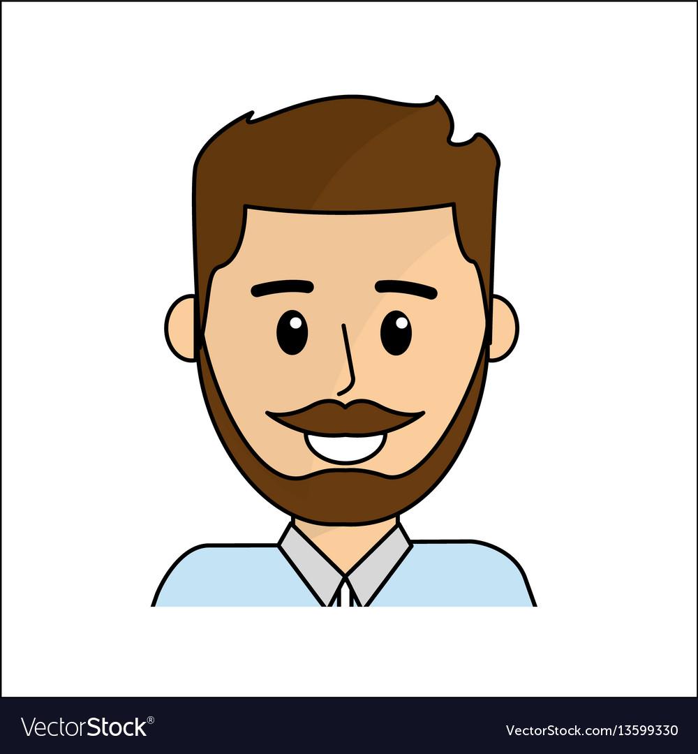 People happy face man icon vector image