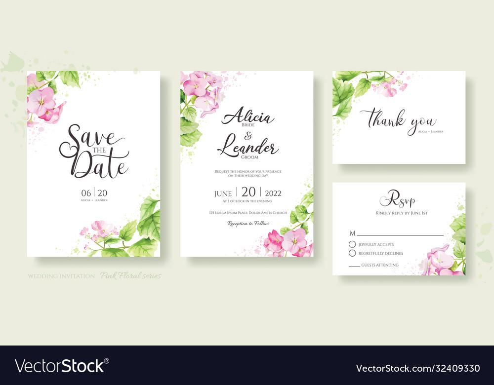 Set floral wedding invitation card template