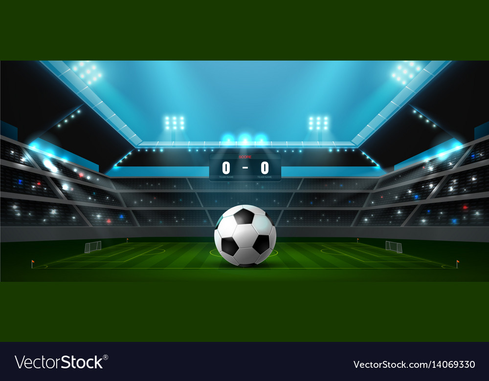 Soccer football stadium spotlight vector image