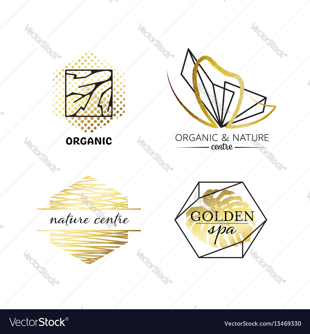 Spa and beauty labels with geometrical shapes