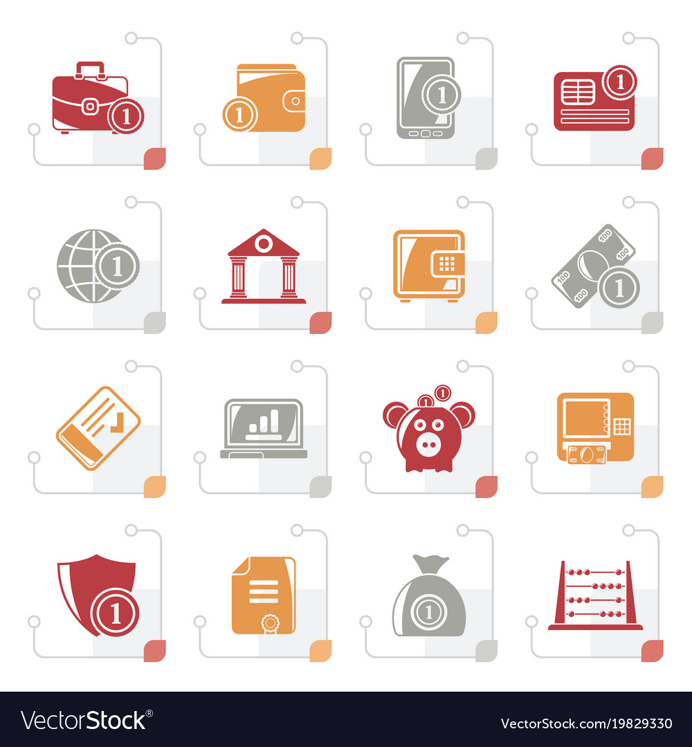 Stylized financial banking and money icons