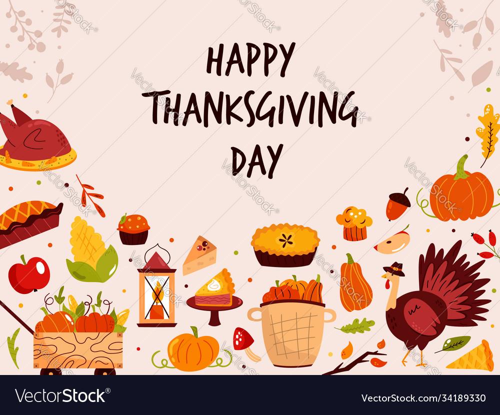 Thanksgiving design with holiday symbols turkey