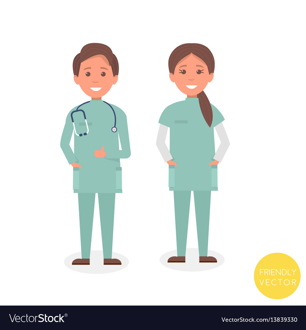 Young medical team smiling young woman and man
