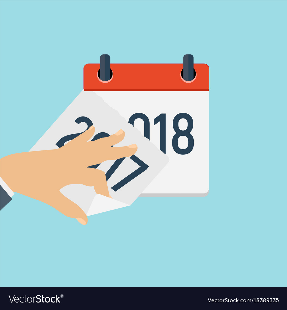2018 new year calendar flat daily icon template vector image