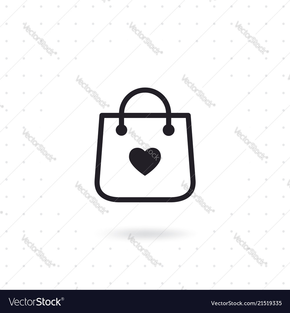 Bag shopping icon with heart symbol
