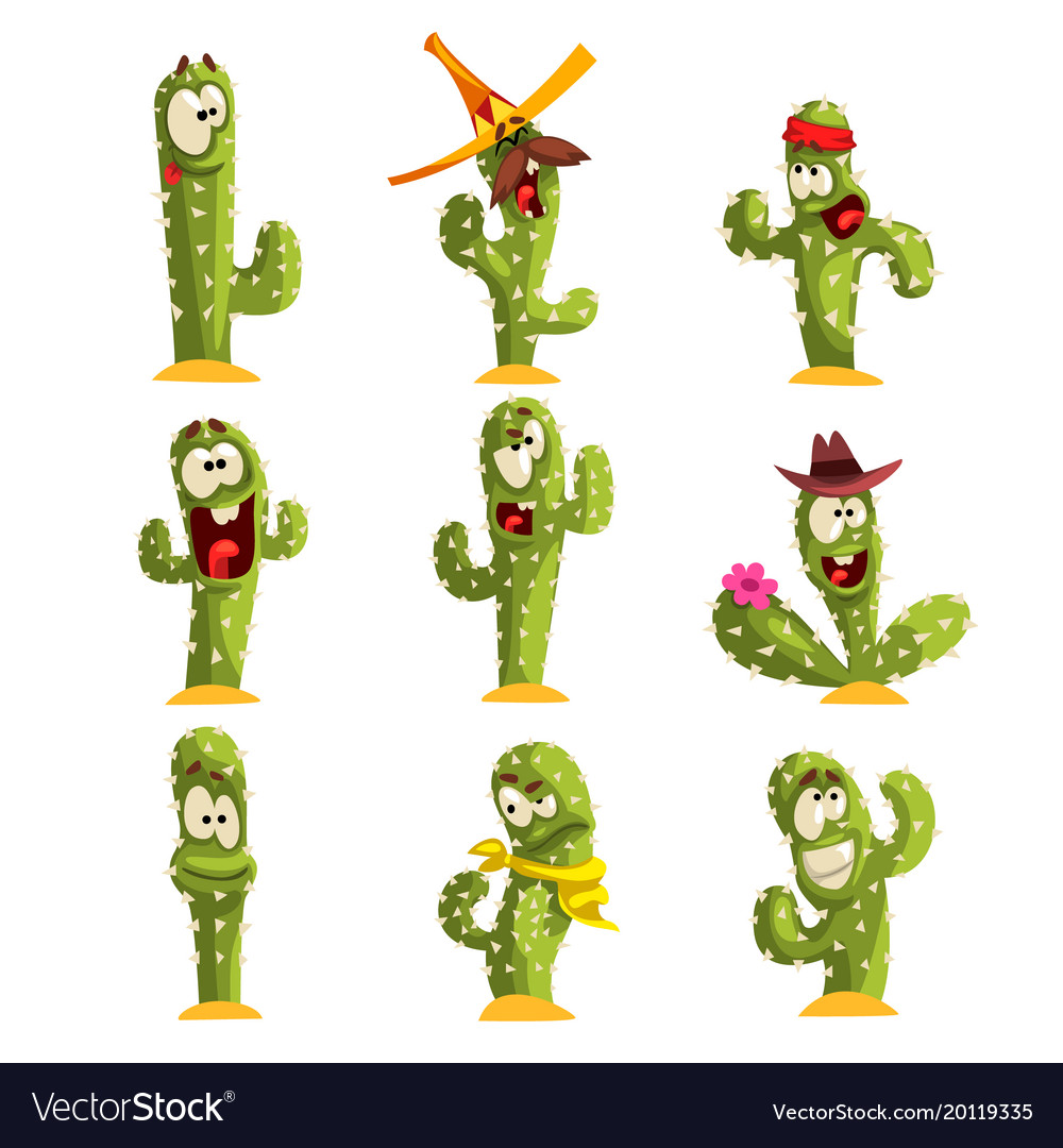 Cactus characters sett funny cacti with different