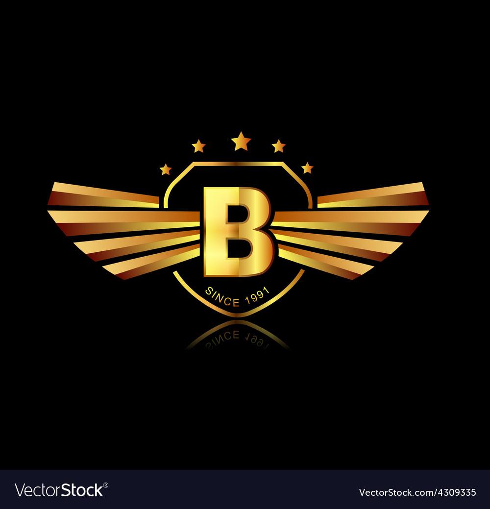 Letter B winged crests logo Alphabet logotype