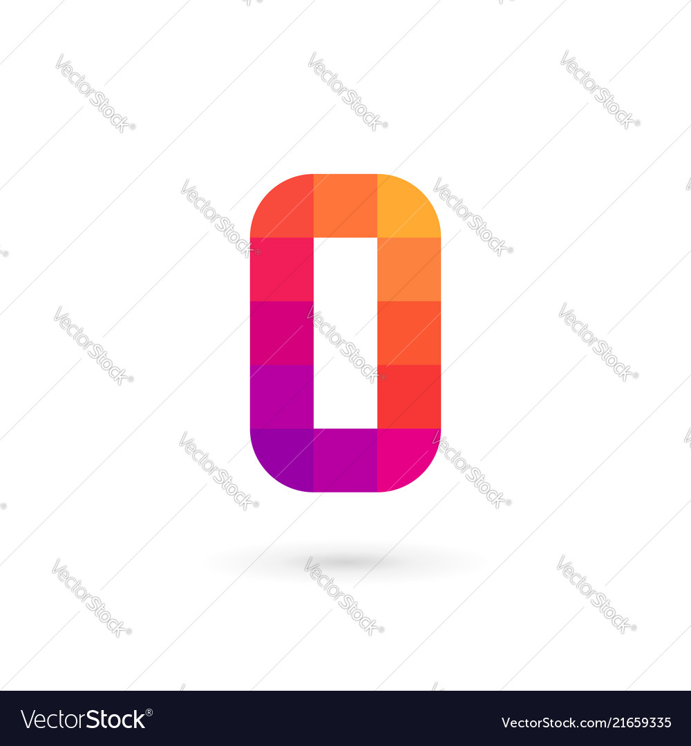Letter o number 0 mosaic logo icon design