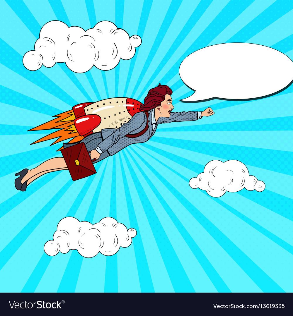 Pop art successful business woman flying on rocket