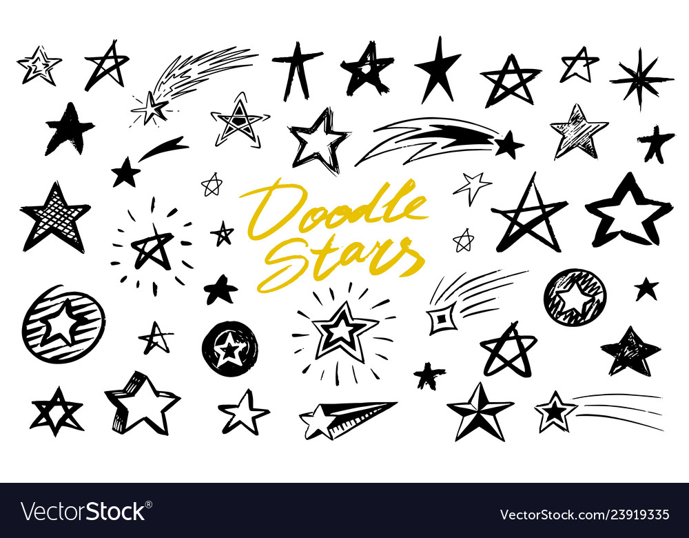 Set of star signs doodle style collection of