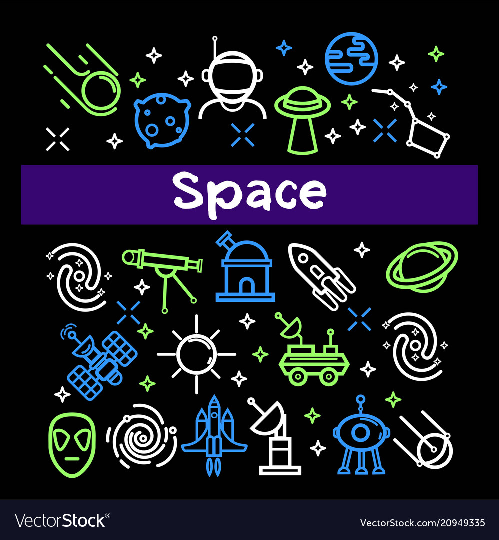 Space themed elements in bright neon colors set