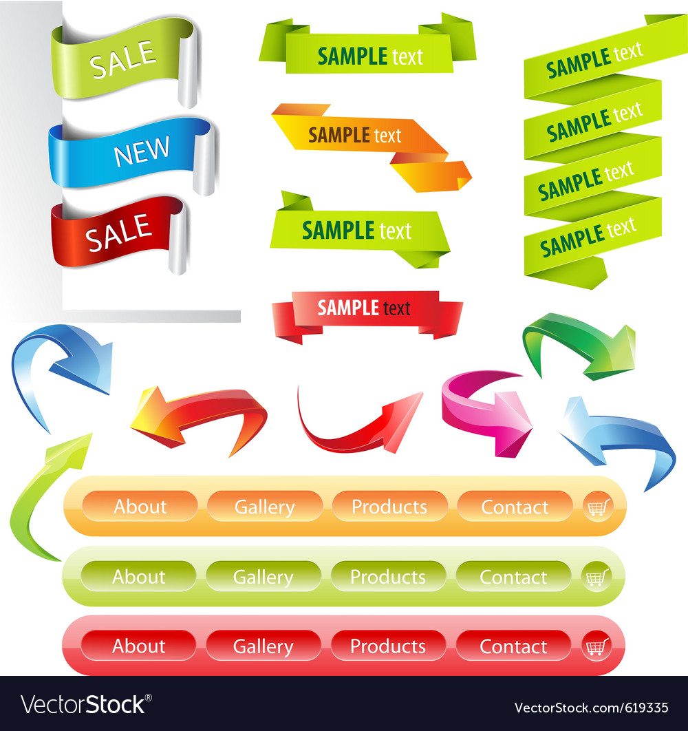 Stickers and banners set vector image