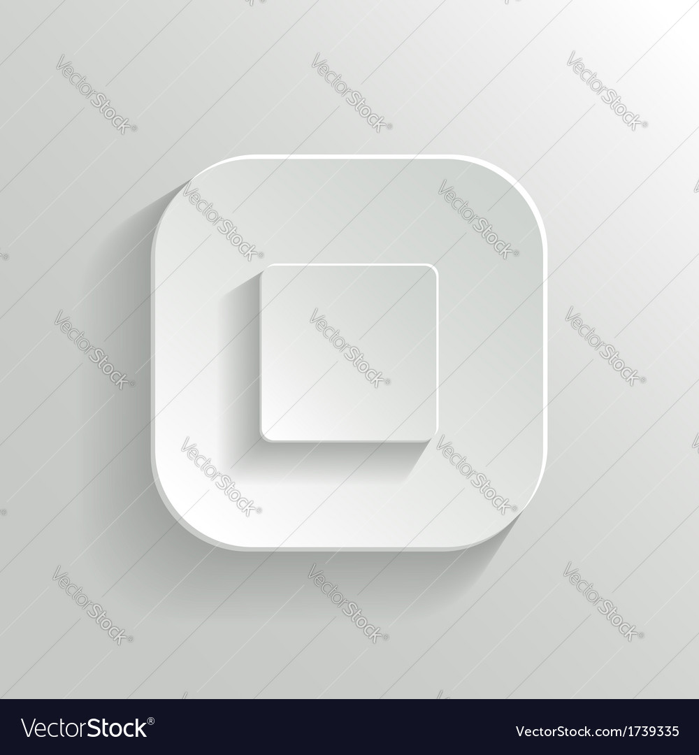 Stop - media player icon - white app button