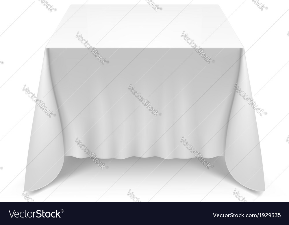 Charmant Table With White Cloth Vector Image