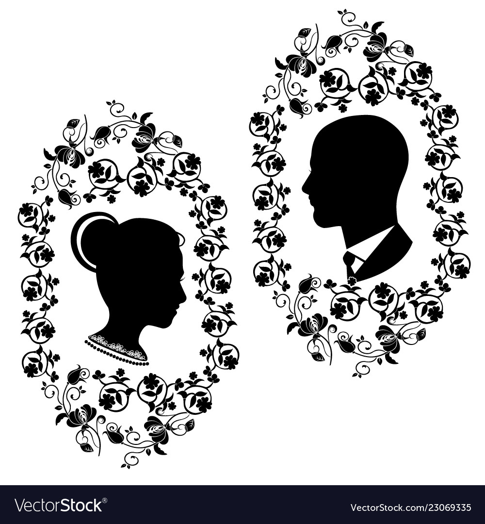 Wedding silhouette with flourishes frame 5