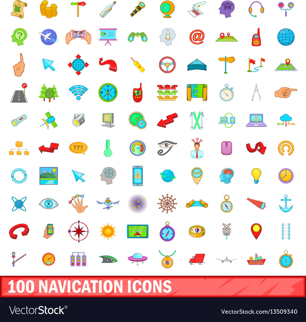 100 navigation icons set cartoon style