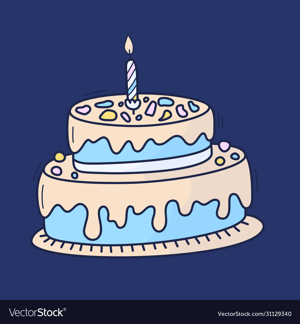 Birthday cake with candle symbol celebration