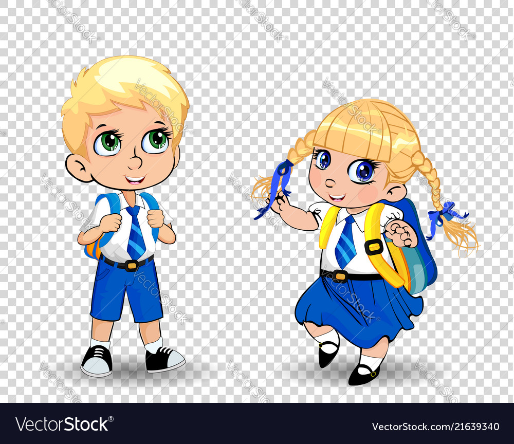 Cartoon school girl and boy wearing uniform with