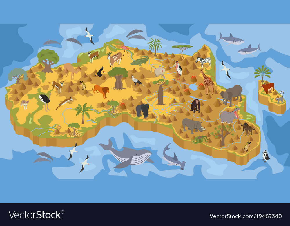 Flat 3d isometric africa flora and fauna map vector image gumiabroncs Images