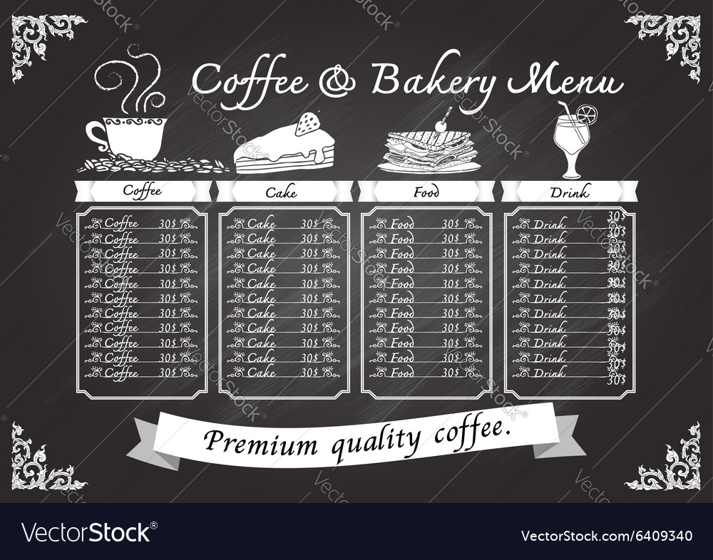 Hand drawn coffee and bakery on chalkboard