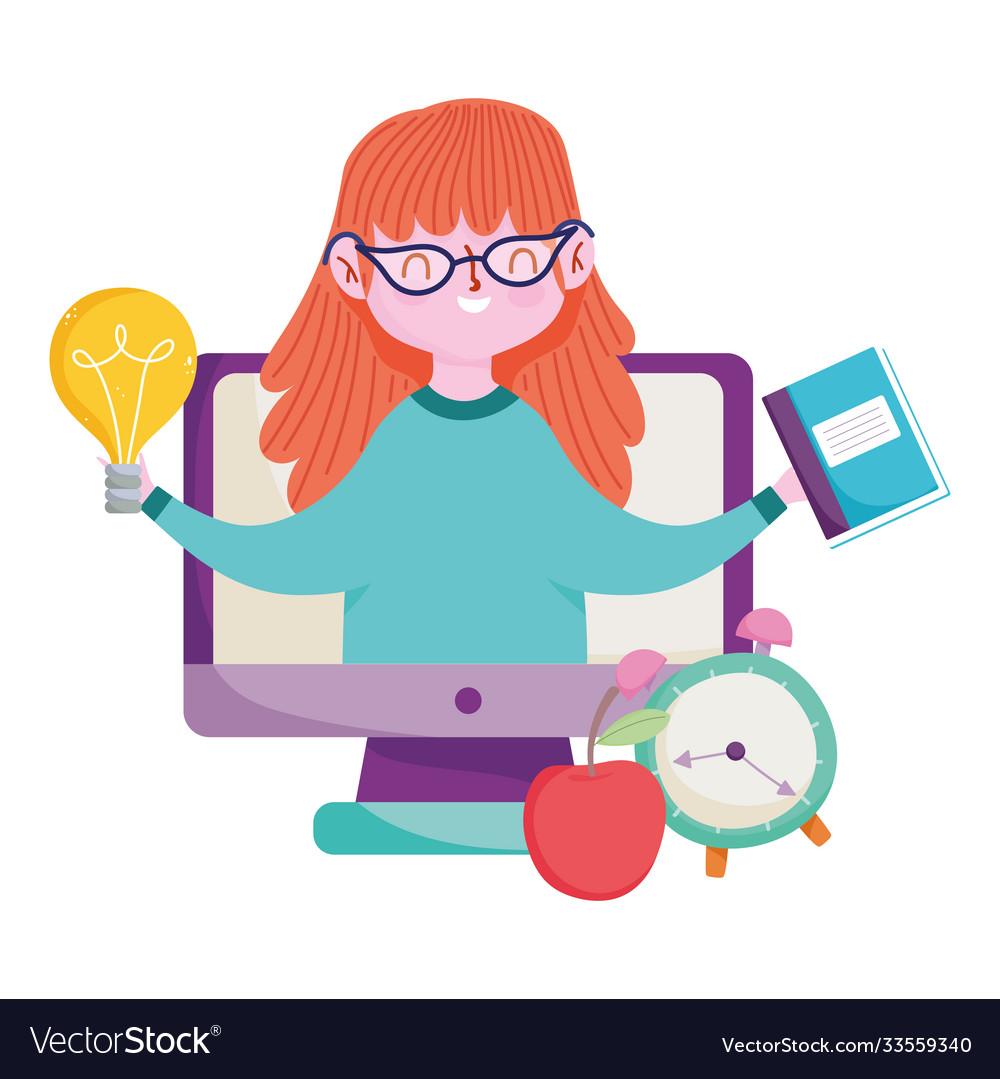 Happy teachers day teacher online class computer