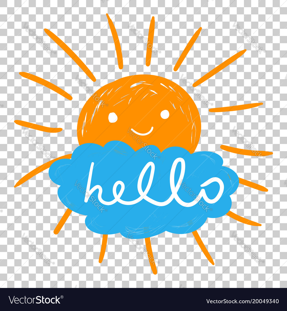 Hello summer hand drawn chalk sun icons on