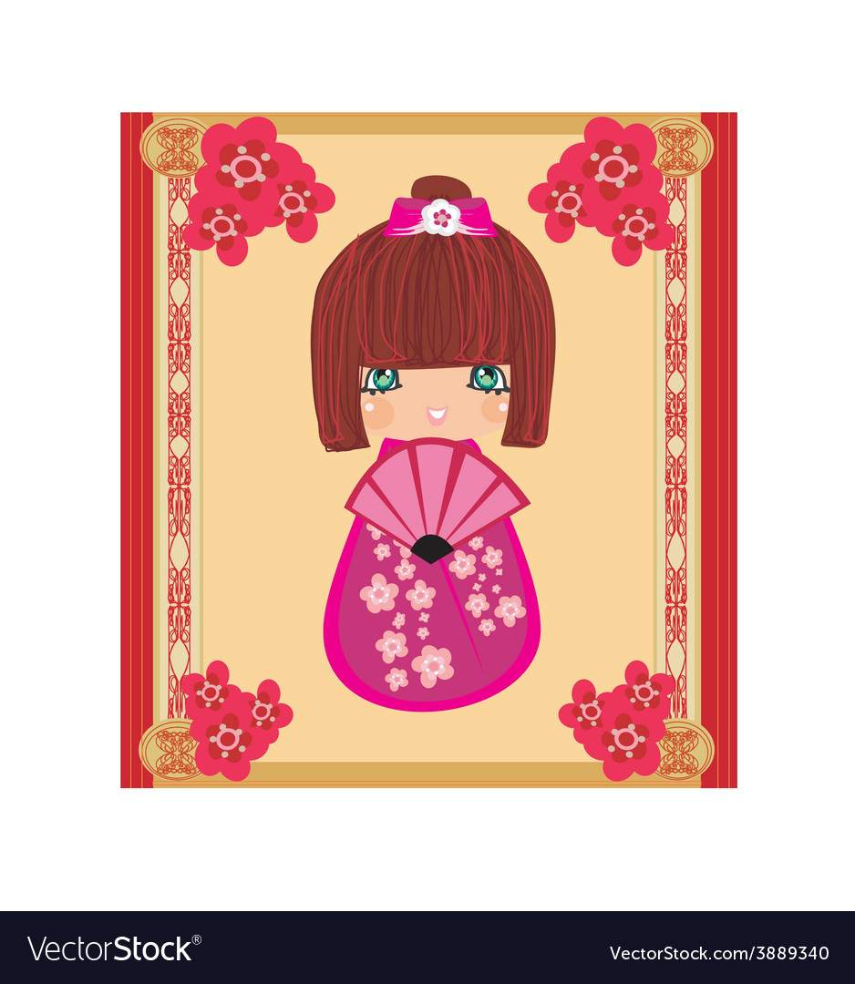 Kokeshi doll cartoon character beautiful abstract