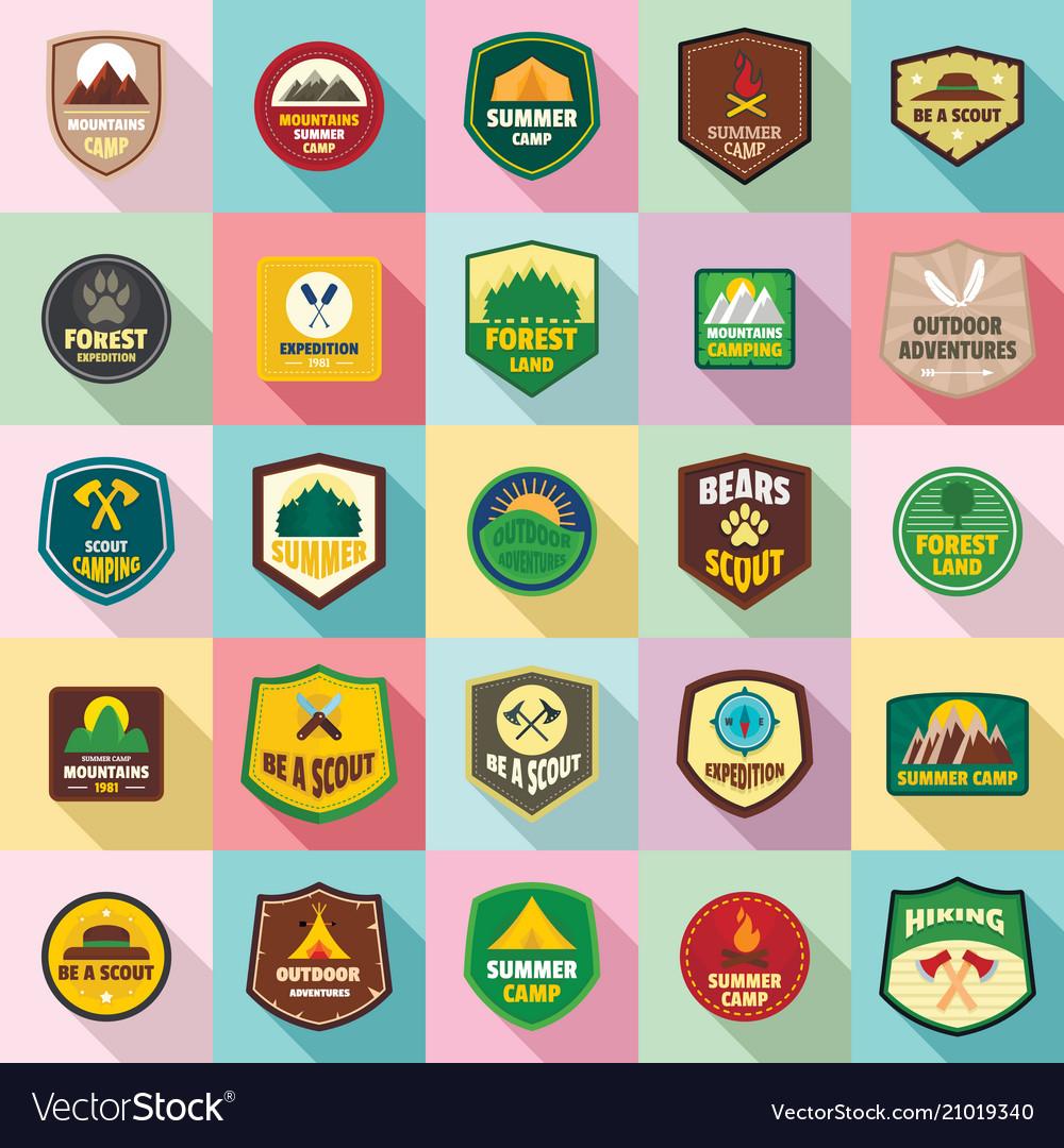 Scout badge emblem stamp icons set flat style