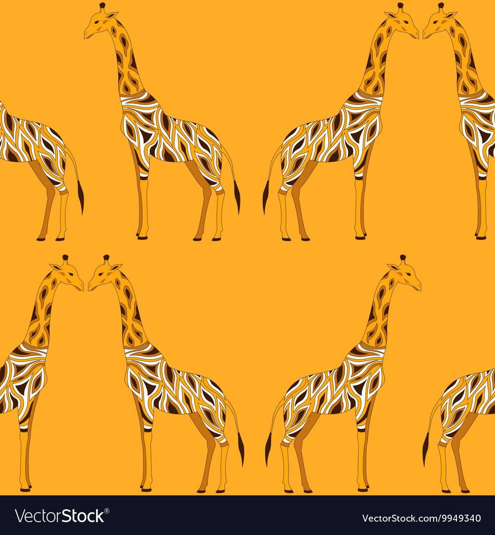 Seamless beautiful adult Giraffe in half-face