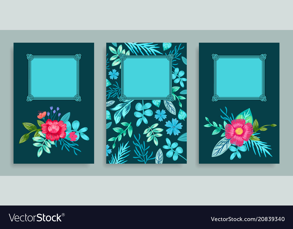 Set of covers floral pattern