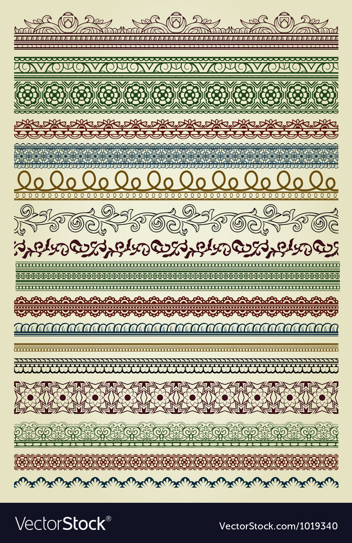 Set of vintage lines vector image
