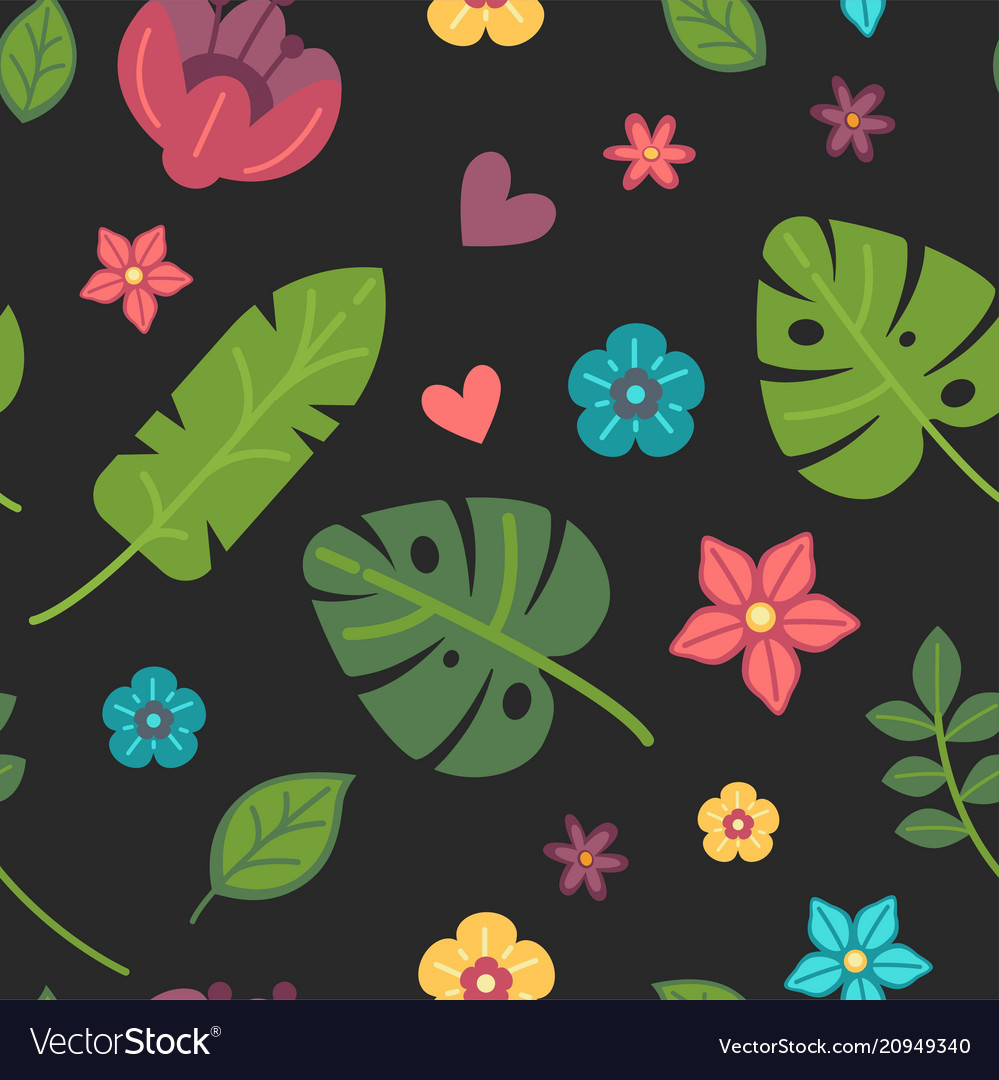 Summer pattern palm leaves and tropical flowers