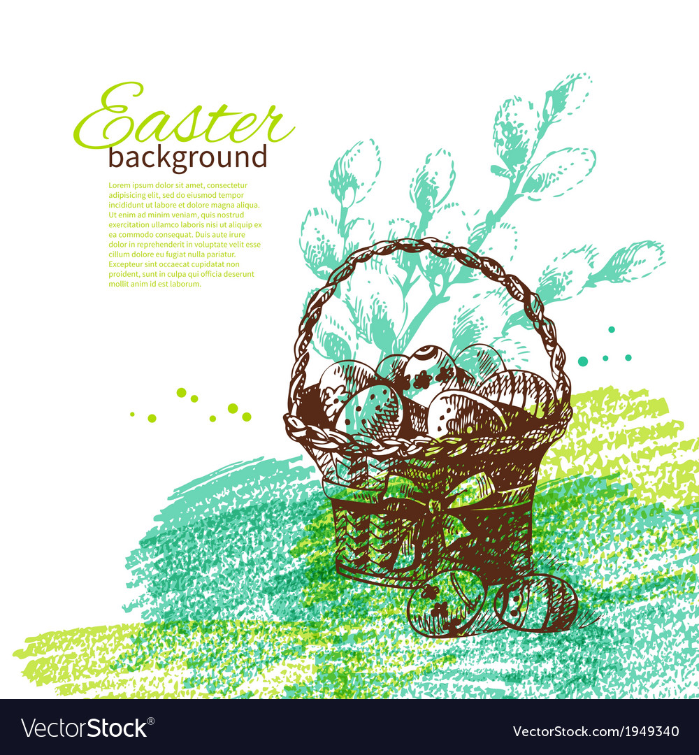 Vintage Easter background with hand drawn sketch