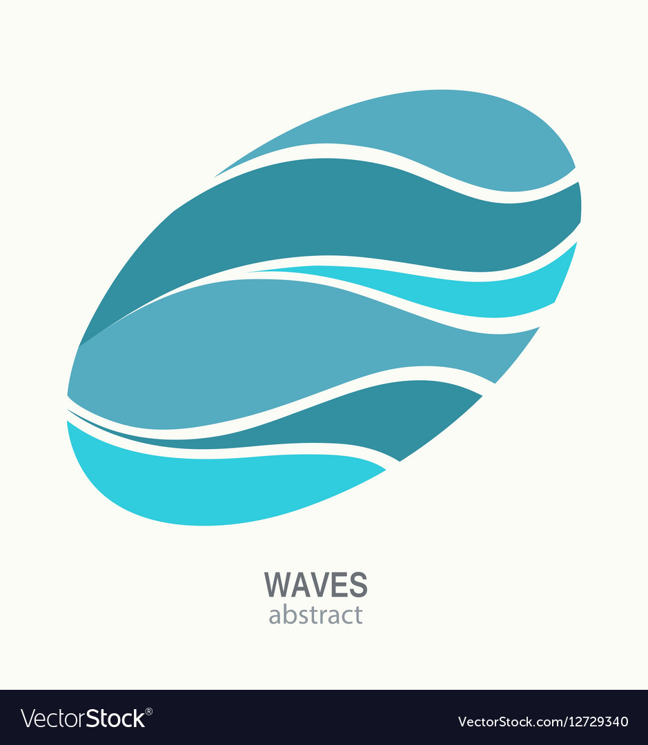 Water Wave Logo abstract design Oval aqua icon vector image
