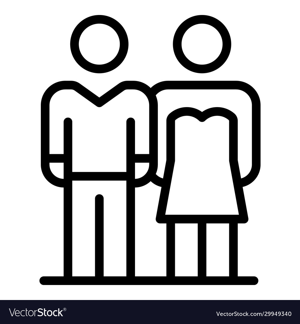 Wedding Ceremony Couple Icon Outline Style Vector Image