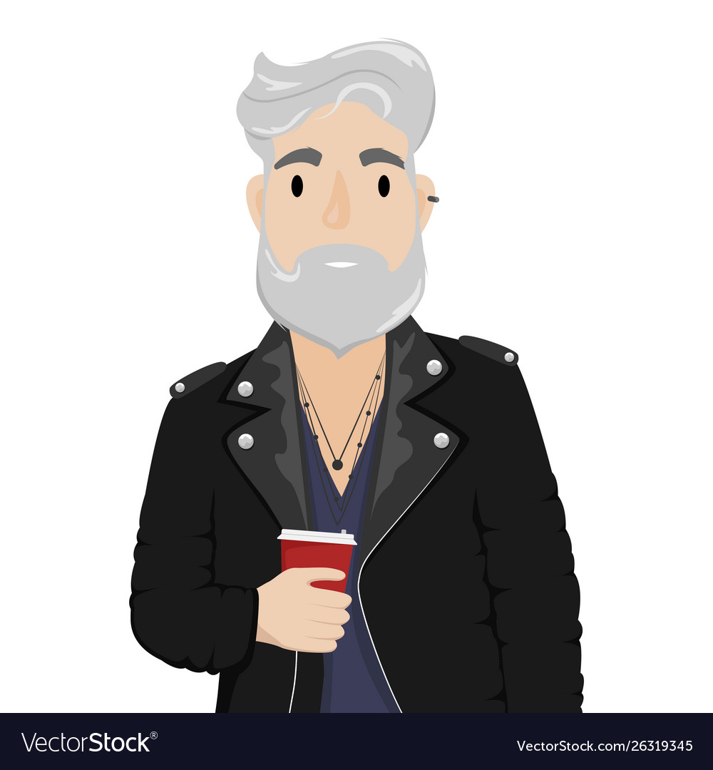 A hipster man with gray hair and a beard