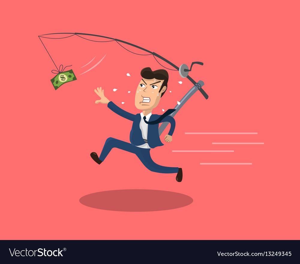 Businessman chasing cash vector image