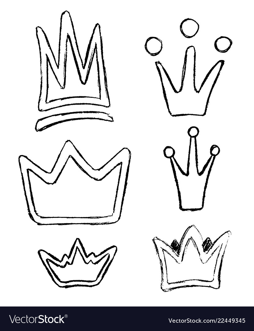 Crown icon doodle set hand drawn picture in