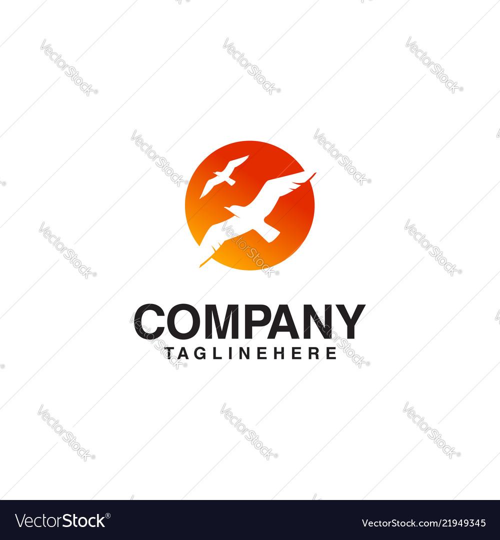 Flying bird sun logo