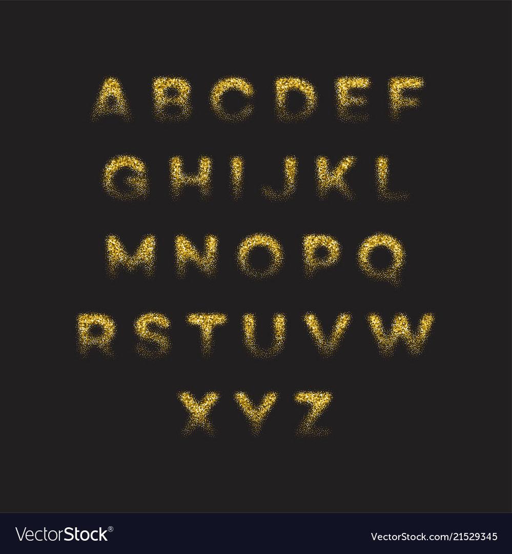 Golden glitter alphabet font set