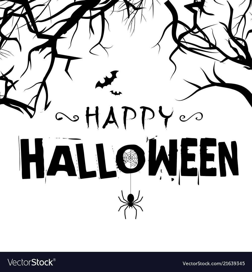 Happy halloween spiders tree branch background vec