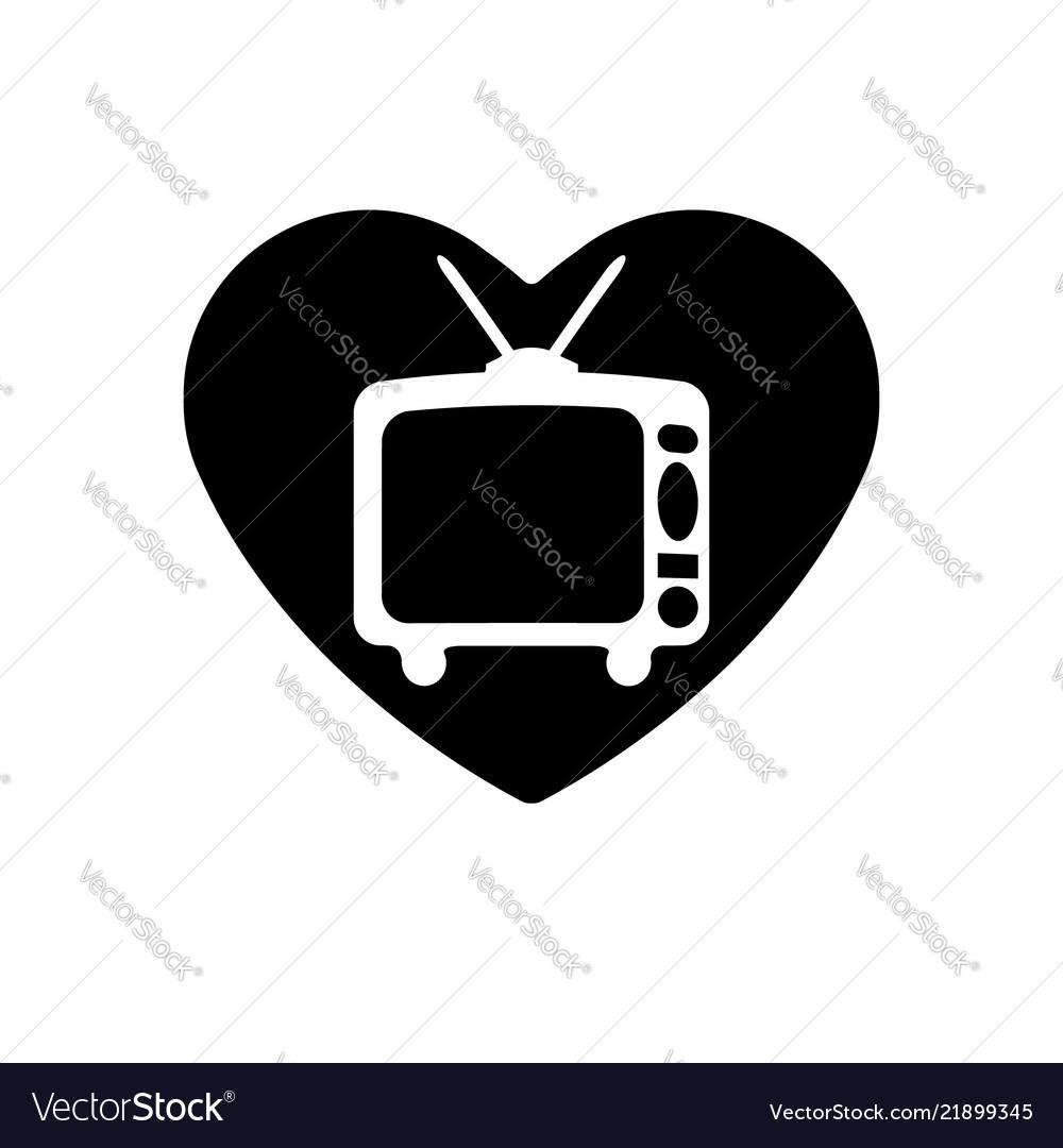 Heart black icon love symbol retro tv in