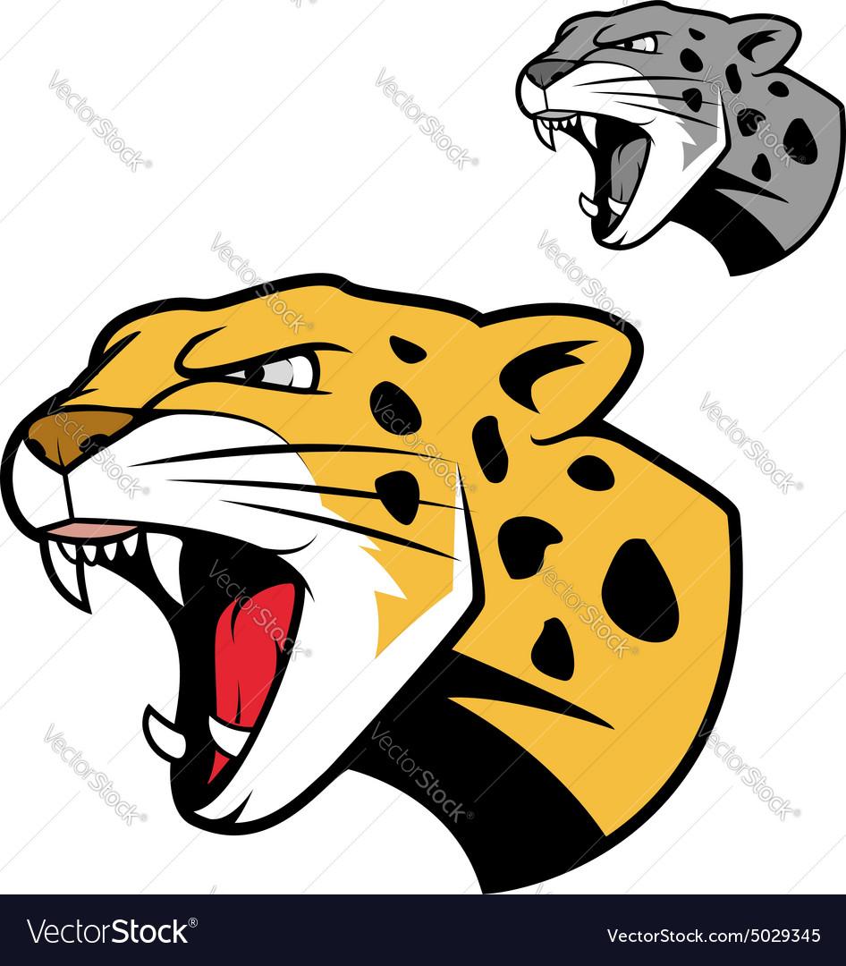 Leopard or jaguar head with bared teeth