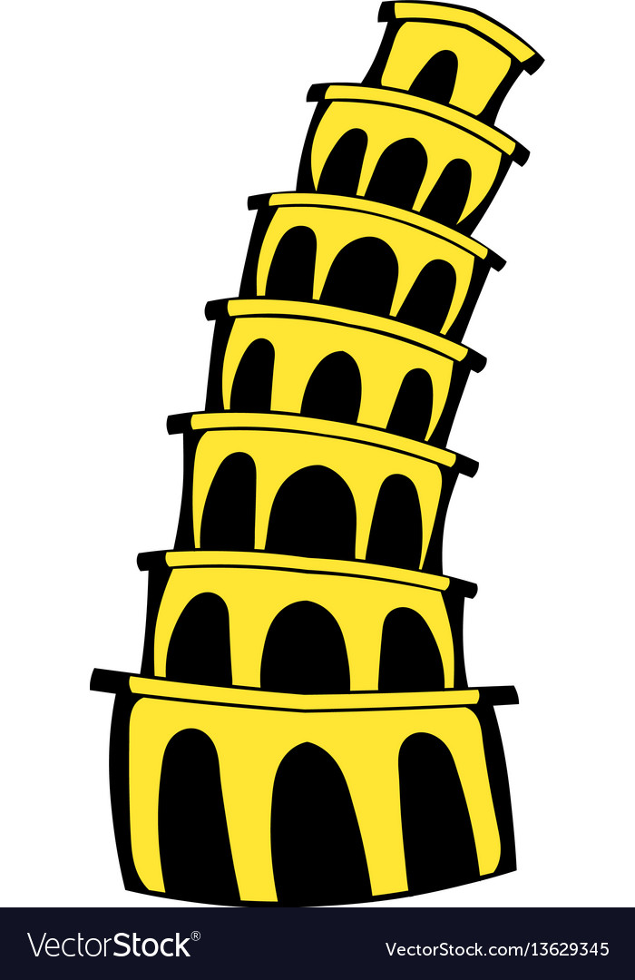 Pisa tower icon cartoon