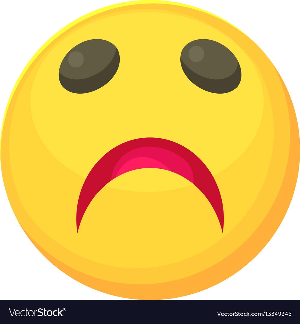 Sad smiley icon cartoon style