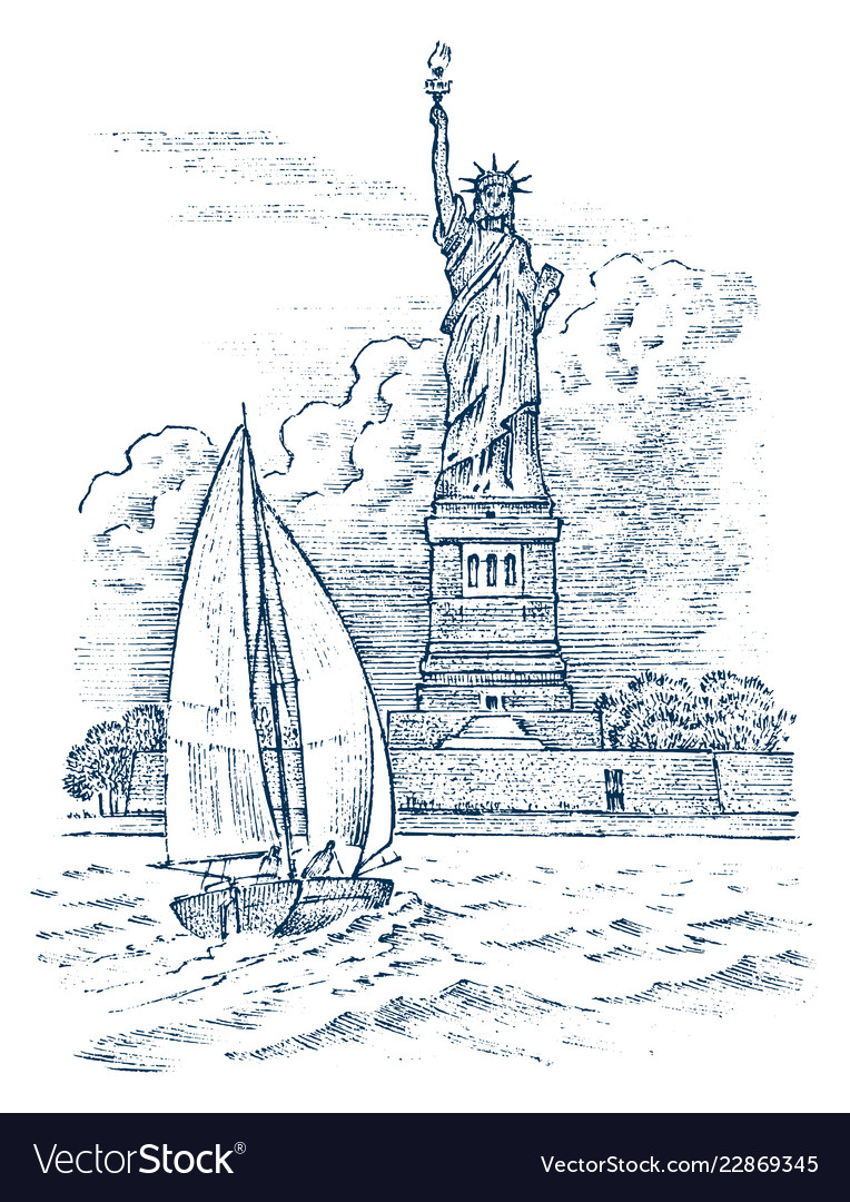 Sailboat in the sea on a background of the statue